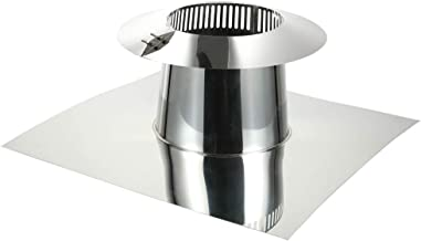Rainbow Chimney Flat Roof Flashing with Storm Collar 304 Stainless Steel for 6 Inch Double Wall Chimney Pipe