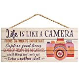 P. Graham Dunn Life is Like a Camera Focus on What's Important 5 x 10 Wood Plank Design Hanging Sign