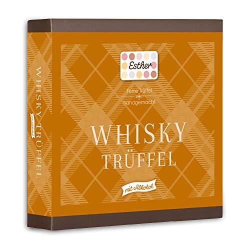 Esther Whisky Trüffel 9er Präsentpackung mit Alkohol 100g | Pralinen und Trüffel mit Whisky Geschmack | Geschenkidee für Geburtstag, Vatertag, Muttertag | passendes Präsent für Opa, Papa, Freunde
