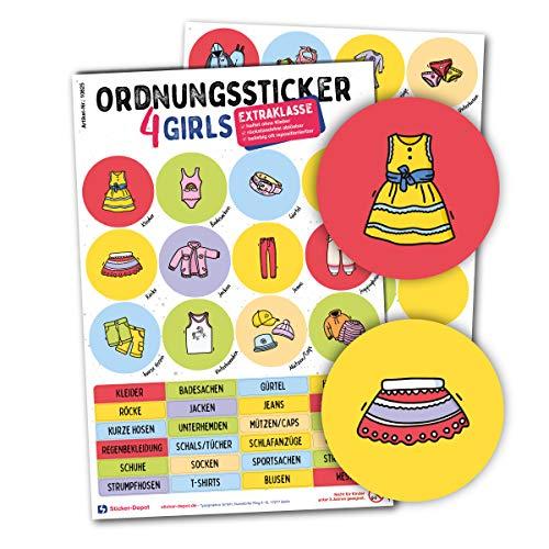 Typographus - 104 naklejki na ubrania odpowiednie dla dzieci – do szaf, pudełek i mebli – zapewniają porządek w pokoju dziecięcym | dziewczynki | naklejki porządkowe, nauka, przechowywanie kolorowe