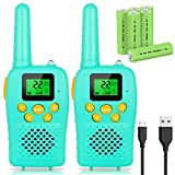 E-WOR Walkie Talkies for Kids Rechargeable, Stocking Stuffers for Kids, 2019 Model Best Gifts Top Toys for Boys and Girls 3-12 Year Old Kids, 4 Miles Range 22 Channels 2 Way Radios- Gift Box