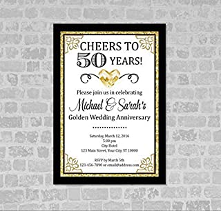 Golden Wedding Anniversary Invitation, Gold (Digital) Glitter 50th Anniversary Invitation, Golden Anniversary