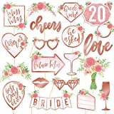 xo, Fetti Bridal Shower, Wedding Photo Booth Props - 20 pieces, pre-assembled - Rose Gold Bachelorette Party Decorations, Bride To Be, Miss to Mrs