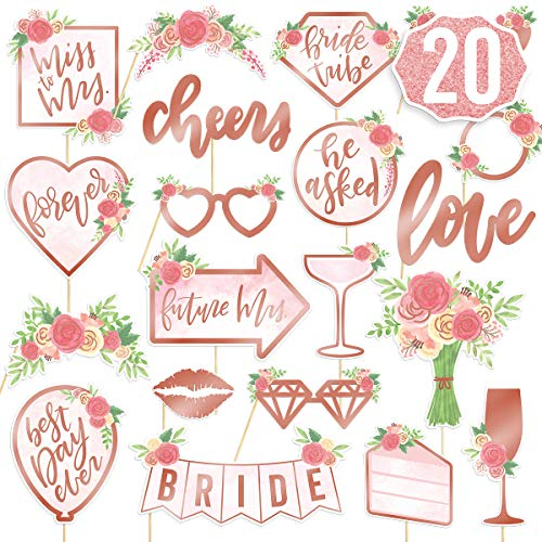 xo  Fetti Bridal Shower  Wedding Photo Booth Props - 20 pieces  pre-assembled - Rose Gold Bachelorette Party Decorations  Bride To Be  Miss to Mrs