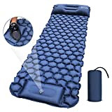 Camping Sleeping Pad, Extra Thick Durable Camping Inflatable Mat with Air Pillow, Foot Press Lightweight Backpacking Air Mattress for Backpacking Hiking Traveling (Blue)