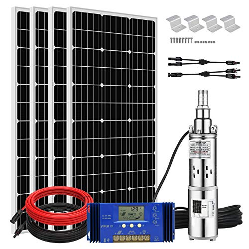 Pumplus 24V 400W Submersible Solar Water Well Pump Kit, 3'' 250W Solar Water Pump, 60A Controller and 16ft Solar Cable for Irrigation Water Supply, Circulation, Garden