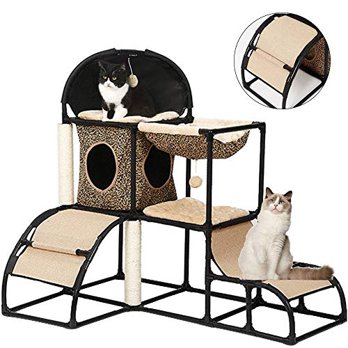 Cat Tree for Large Cats Super Stable Cat Furniture with Scratching Posts Hammock Cat Jungle with Extra Thick Plastic Tube and Comfortable Flannel Cozy Perches 42In