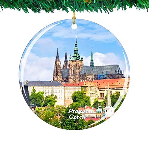Weekino Czech Prague Castle Prague Christmas Ornament City Travel Souvenir Collection Double Sided Porcelain 2.85 Inch Hanging Tree Decoration