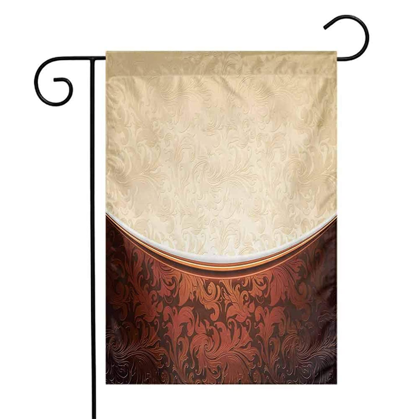 Mannwarehouse Chocolate Garden Flag Victorian Motifs in Bicolor Baroque Inspired Antique Arrangement Ornate Design Premium Material W12 x L18 Beige Brown