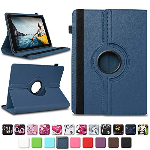 NAUC Tablettasche kompatibel für Medion Lifetab E10714 E10430 E10414 E10604 E10412 E10511 E10513 Tablet Tasche Hülle Universal Schutzhülle Drehbar, Farben:Blau