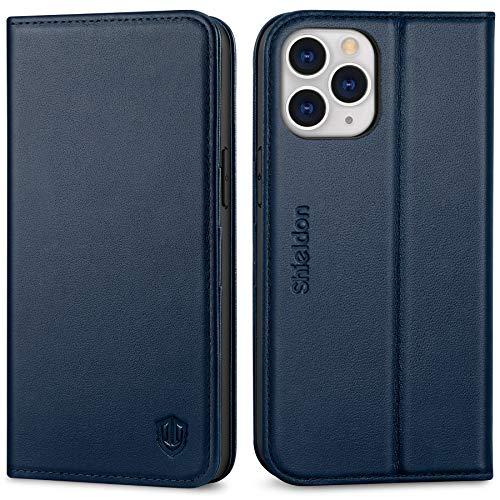 SHIELDON iPhone 12 Pro Max Hülle, RFID Handyhülle [Echtes Rindsleder] [Standfunktion] [Kartenfach] [Magnet], TPU Stoßfeste Schutzhülle Handytasche Hülle Kompatibel für iPhone 12 Pro Max 6,7 Marineblau