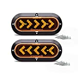 TMH ( Pack of 2 ) 6 Inch 25 ARROW LED Surface Mount Oval Amber Turn Signal Side Marker Tail Light Indicator Assembly for Truck Trailer Trail Bus 12V DC