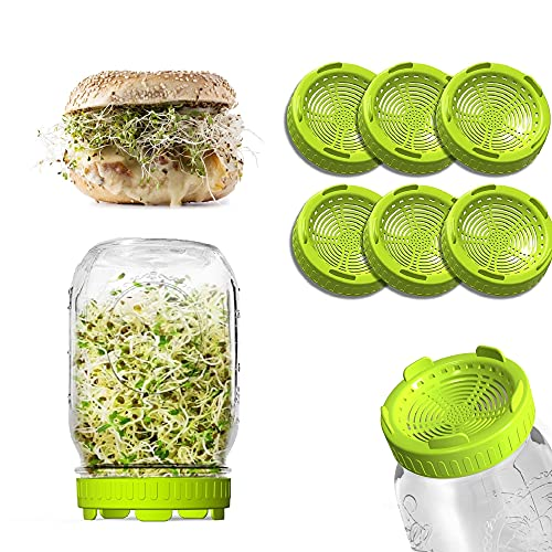 HWOEK Sprouting Lids 6 Pack Plastic Sprouter Kit for Wide Mouth Mason Jar lids Seed Sprouting lid with screen Bean Healthy Eating Sprout lids Organic Growing Alfalfa Sprouts Broccoli Sprouting Seeds