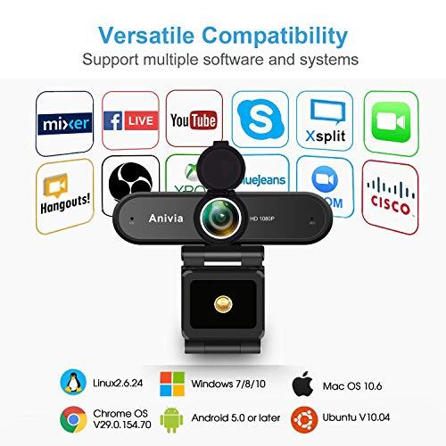 Webcam Anivia Full HD Webcam USB de 1080p con micrófono dual Cámara de 2MP Autofocus Cámara web HDR Videoconferencia y grabación de pantalla panorámica para computadora portátil Skype Stream Gaming miniatura
