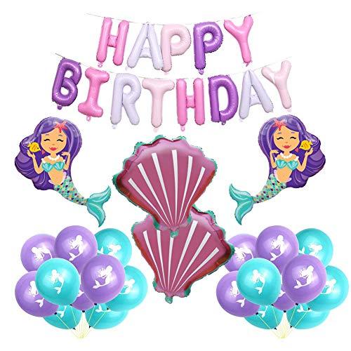 SUNSK Geburtstagsballons Meerjungfrau Ballon Set Happy Birthday Girlande Runde Latexballon Muschel Folienballon Geburtstag Deko für Mädchen Kinder 25 Stück