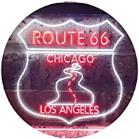 Route 66 Chicago to Los Angeles Garage Dual Color LED看板 ネオンプレート サイン 標識 白色 + 赤色 600 x 400mm st6s64-i3434-wr
