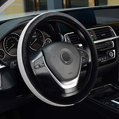 KAFEEK Diamond Bling Steering Wheel Cover with Bling Bling Crystal Rhinestones, Universal 15 inch Plush Steering Wheel Cover, Black