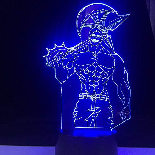 Lámpara de ilusión 3D con diseño de anime, 7 pecados, mando a distancia para bebés, niños, cumpleaños, 16 colores, cambio de luz nocturna, sin mando a distancia
