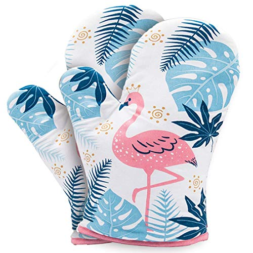 YZEECOL Soft Cotton Oven Mitts Heat Resistant Flamingo Design Gloves Safe Kitchen Baking Grilling Microwave Oven Mitts White