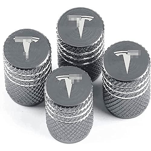 4 Piezas VáLvula de NeumáTico de AleacióN de Aluminio, para Tesla Model 3 S Roadster Model X Y, AutomóViles Tapas para VáLvulas de Polvo Universal de Sistema Antirrobo