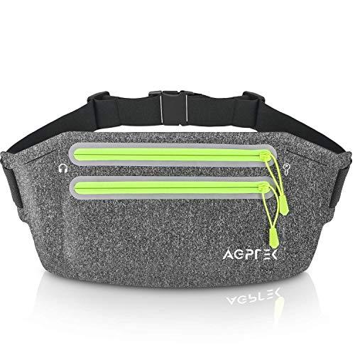AGPTEK Gürteltasche Hüfttasche Lauftasche für Handy iPhone Geld Schlüssel Laufgürtel mit größerer Kapazität Bauchtasche Running Belt für Reise Outdoor Sport Aktivitäten, Grau
