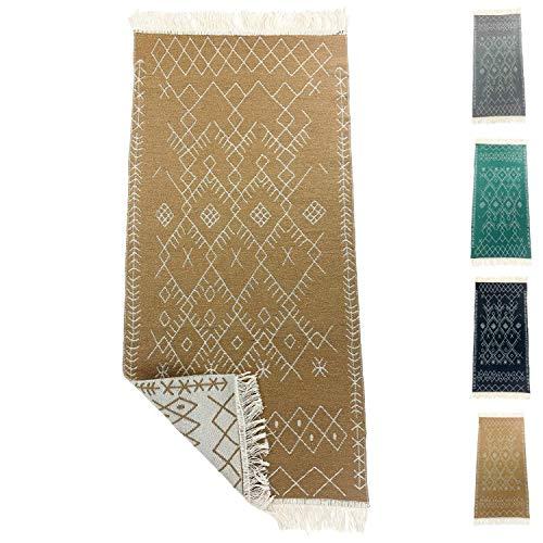 SOLTAKO Alfombra de pasillo pequeña Kelim, con flecos, diseño retro, bohemio, étnico, marroquí, lavable, estilo vintage, modelo Agadir (champán/crudo), 135 x 65 cm
