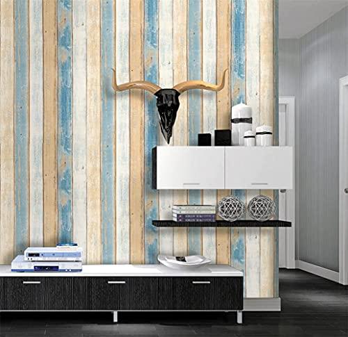 EASYLEE 壁紙シール 45cm×10m リメイクシート 木目調 ストーン ウォールステッカー ブラウン ブルー 白 カラーの木目柄 はがせるタイプ 防水 リフォーム DIY (地中海の木目)
