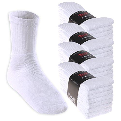 32 Paar MT® Sport- und Freizeitsocken Weiss-43-46