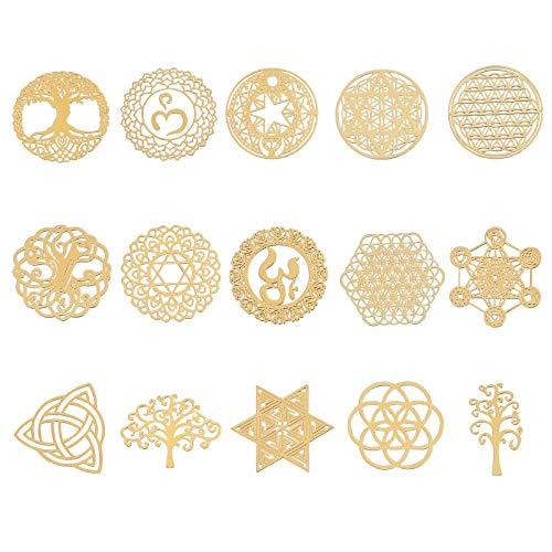 OLYCRAFT 15Stk Energy Rune Aufkleber Geometrie Orgon Pyramide Aufkleber Selbstklebende Goldene Messingaufkleber Energy Tower Material Für Sammelalben DIY Resin Crafts Telefon