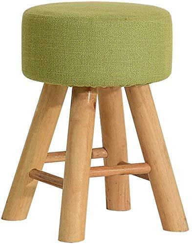 Woonkamer stoel Afneembare stoffen Cover kaptafel Kruk Vintage Ronde Krukken Chair 4 Houten Benen for Woonkamer Slaapkamer Keuken Side Chair