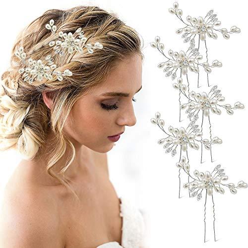 5 Pezzi Forcine Nuziale Sposa per capelli, MOOKLIN Capelli Gioielli Accessori Decorazione con Perla Strass, Cristalli Copricapo Fermagli Fascia Nuziale per Donne e Ragazze