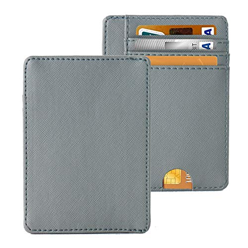 LIZIMANDU Slim Minimalist RFID Leather Wallets,Front Pocket Wallet,Credit Card Holder for Men & Women,Money Clip(1-Grey)