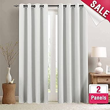 Moderate Blackout Curtains for Bedroom Room Darkening Window Curtain Panels for Living Room 84 inches Long Thermal Insulated Grommet Top Triple Weave Drapes, 1 Pair, Greyish White