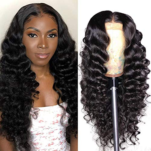 Allove 13X4 Loose Deep Wave Lace Front Wigs Human Hair with Baby Hair Pre Plucked 18inch Brazilian Virgin Remy Human Hair Wigs for Black Women 150% Density 10a Natural Hairline Wig Natural Color