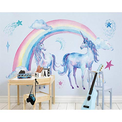 Fondo de habitación de los niños 3d murales de papel tapiz lindo hermoso arco iris unicornio papel de parede papel tapiz para sala de estar