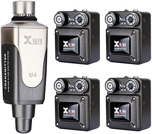 Xvive U4R4 Wireless in-Ear Monitor System 1 trasmettitore e 4 ricevitore Beltpack IEM personale per lo studio, prove di gruppo, performance dal vivo, registrazione con telecamera