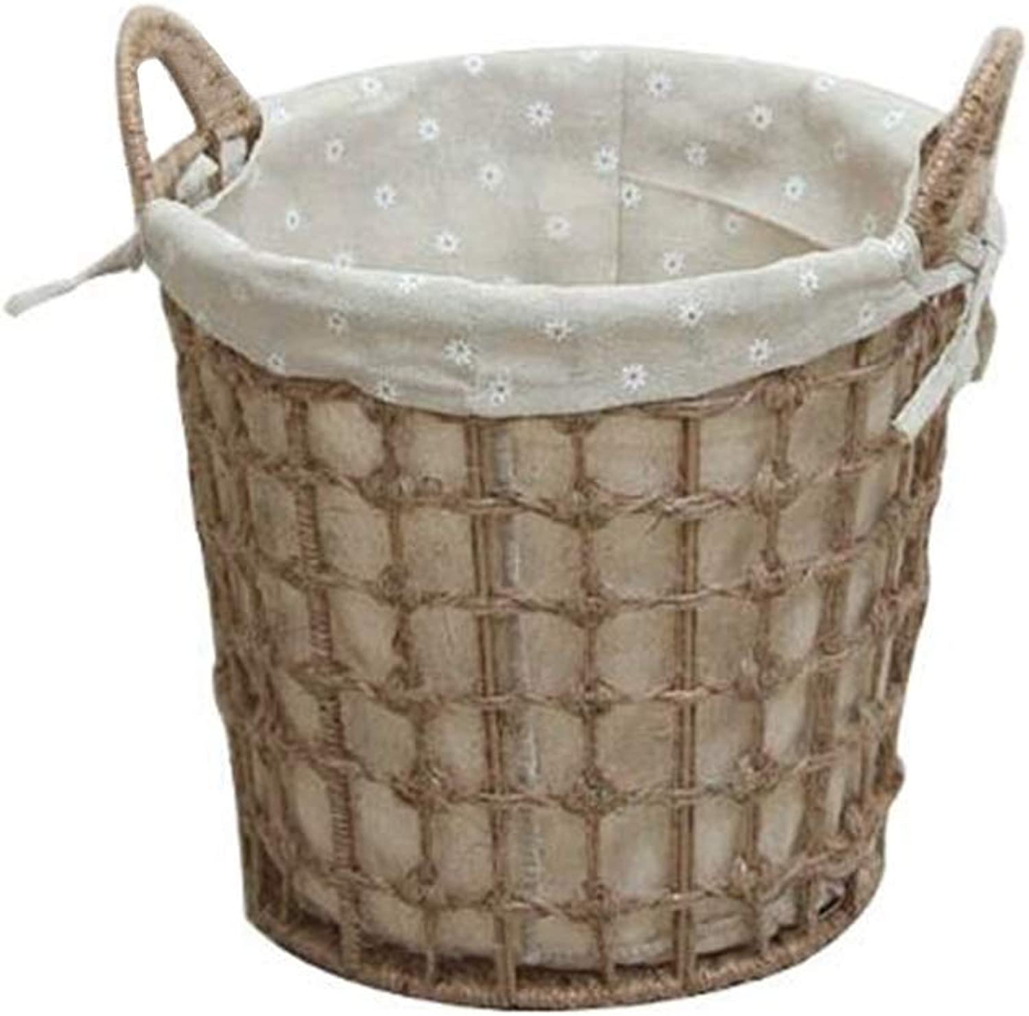 MUMA Storage Basket Round with Handle Rattan Weaving Lining Detachable Easy to Clean Home Supplies (Size   25.5  32.5CM)