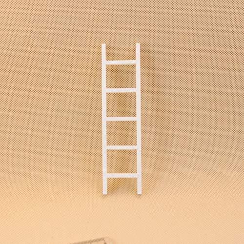 MeterMall Mini witte houten ladder voor 1:12 poppenhuisaccessoires Kinderspeelgoed