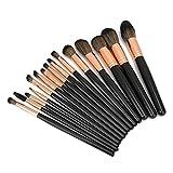 Set de pinceles de maquillaje, 15 piezas Set de pinceles de maquillaje profesional Kit de pinceles cosméticos portátiles suaves Herramienta de maquillaje Kit negro Herramienta de belleza