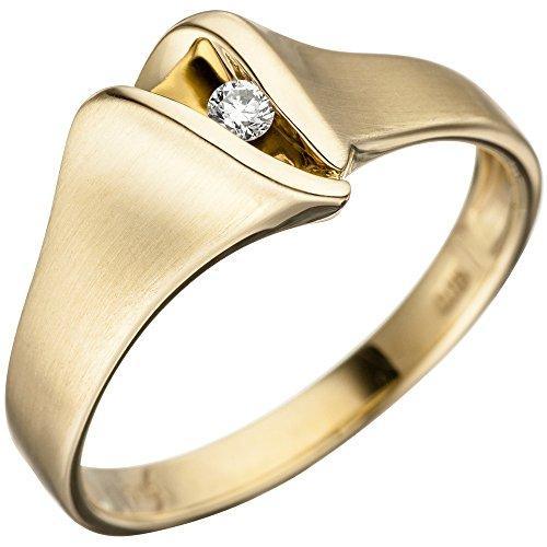 JOBO Damen Ring 585 Gold Gelbgold matt 1 Diamant Brillant Goldring Diamantring Größe 56