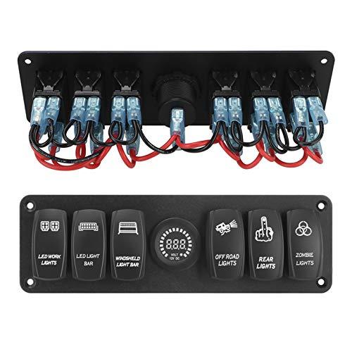 LIANGJIN Colorido 12-24V Interruptor Interruptor Interruptor Impermeable Encendido Apto para RV Car Marine LED Voltage 6 Panel de interruptores de Rocker