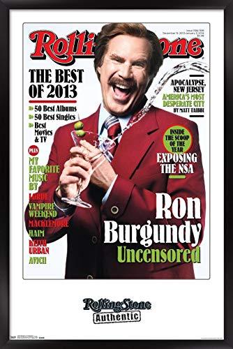 Trends International Rolling Stone Magazine - Ron Burgundy 13 Wall Poster, 22.375' x 34', Black Framed Version
