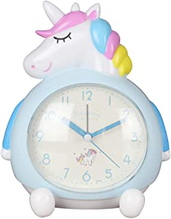 BEIKELAI Unicorn Clock, Double Music Sleeping Nightlight Cartoon Children's Alarm Clock (Blue)
