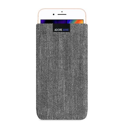 Adore June Business Tasche für Apple iPhone 8 Plus Handytasche aus charakteristischem Fischgrat Stoff - Grau/Schwarz | Schutztasche Zubehör mit Bildschirm Reinigungs-Effekt | Made in Europe