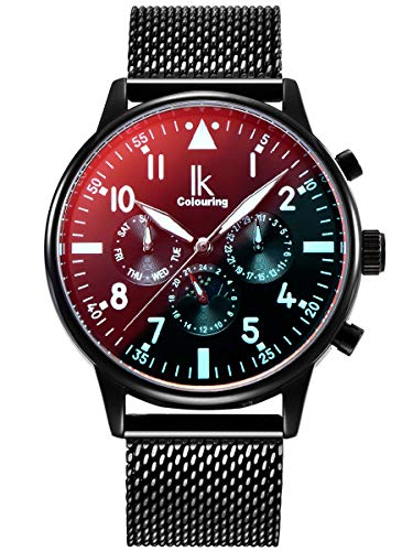 Alienwork Automatikuhr Armbanduhr Herren schwarz Metall Mesh Armband Edelstahl Kalender
