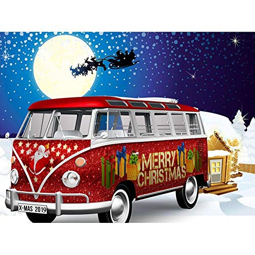 UM UPMALL - Kit de pintura de diamante 5D para adultos, diseño de diamantes, para manualidades, decoración de pared de Navidad, coche bajo la luna 39,9 x 30 cm