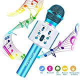 FISHOAKY Karaoke Microphone, Bluetooth Karaoke Machine Portable Mic Player Speaker with LED & Music Singing Voice Recording for Christmas Birthday Home Party KTV Outdoor