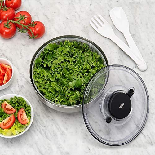 OXO Steel – Essoreuse à salade en inox - Grise - 6 L