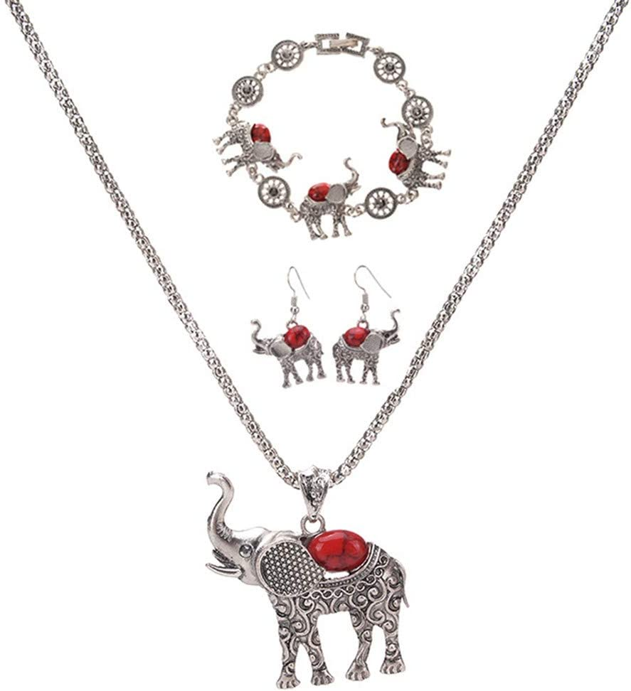 Cngstar Vintage Jewelry Sets Lovely Elephant with Turquoise Bracelet Necklace Earrings Gift Set for Christmas Birthday,red