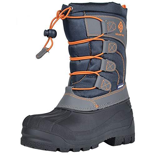 DREAM PAIRS Little Kid Knorth Navy Grey Orange Isulated Fur Winter Waterproof Snow Boots Size 2 M US Little Kid